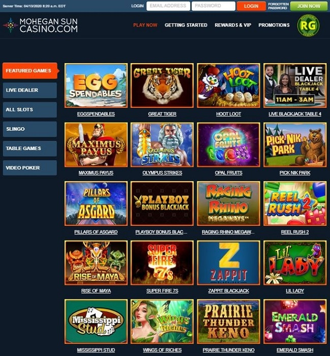 Mohegan Sun Online Casino Screenshot