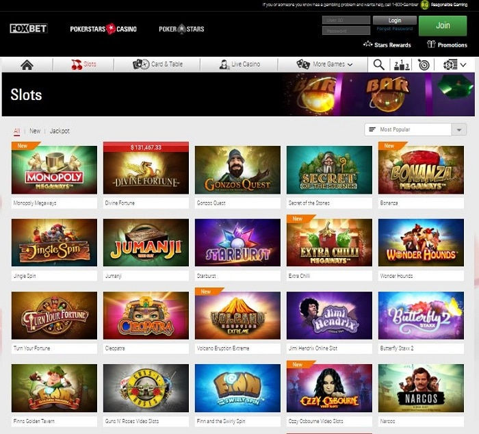 PokerStars NJ Casino Slot Screenshot