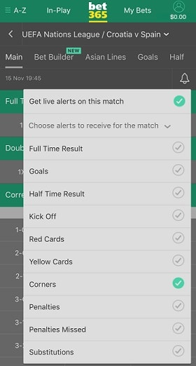 In-Play My Alerts at bet365 USA