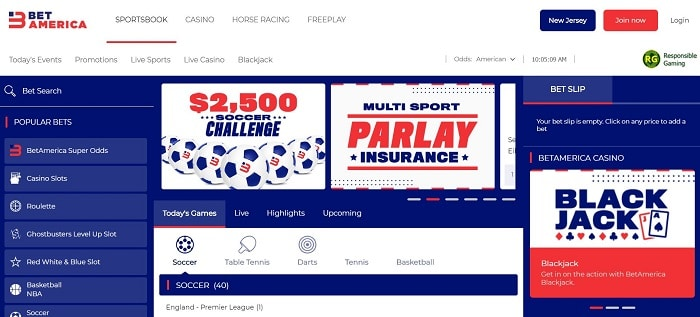BetAmerica NJ Sportsbook Screenshot