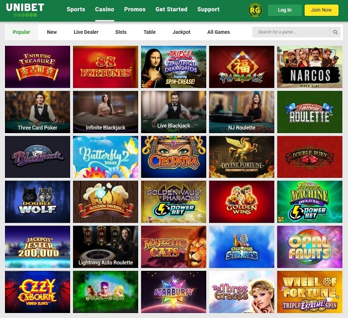 Unibet Casino NJ Screenshot