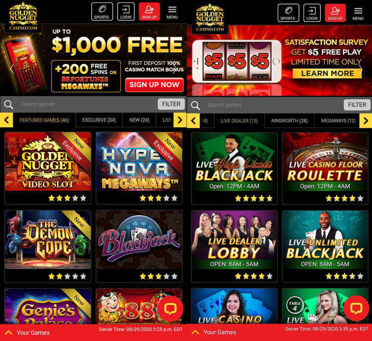 Golden Nugget Casino Mobile Screenshot
