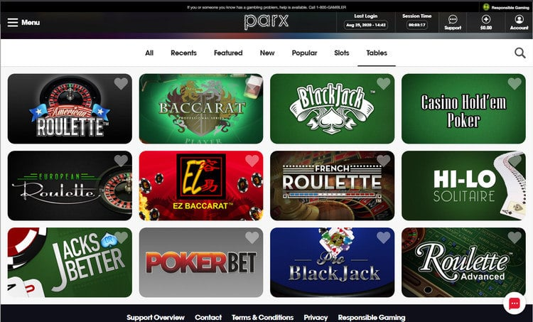 Parx Casino NJ Table Games