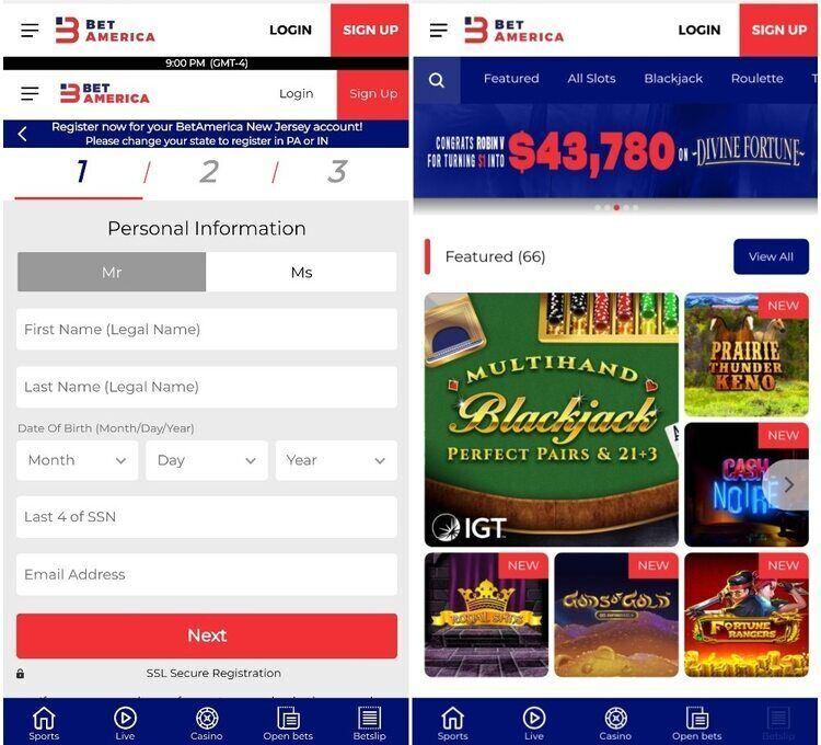BetAmerica Casino Mobile App