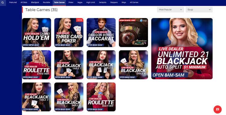 BetAmerica Casino Live Dealer Games