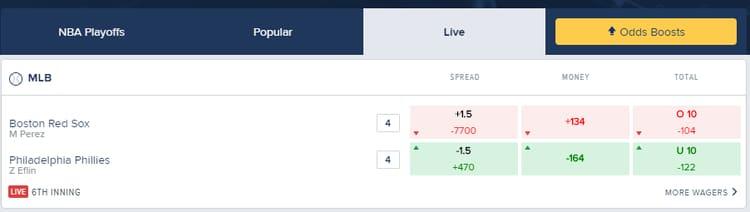 FanDuel Sportsbook In-Play Betting