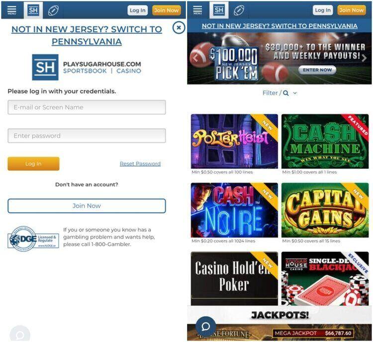 SugarHouse Casino Mobile App Screenshot