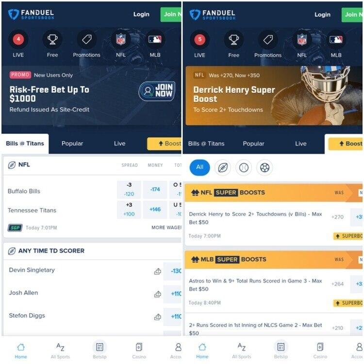 FanDuel Sportsbook Mobile App Screenshot