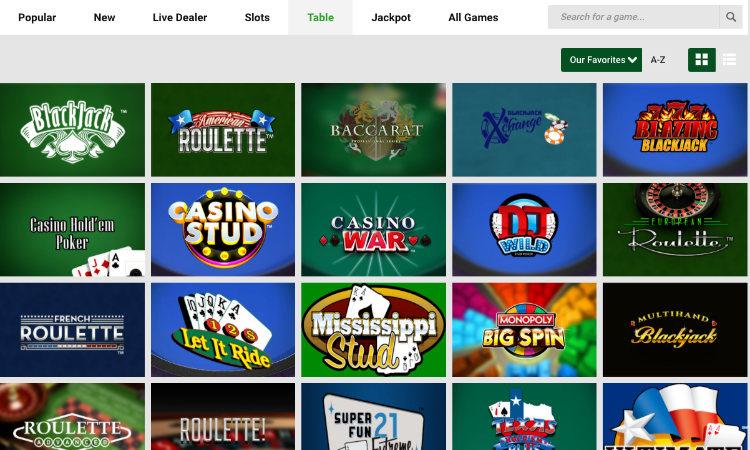 unibet casino table games
