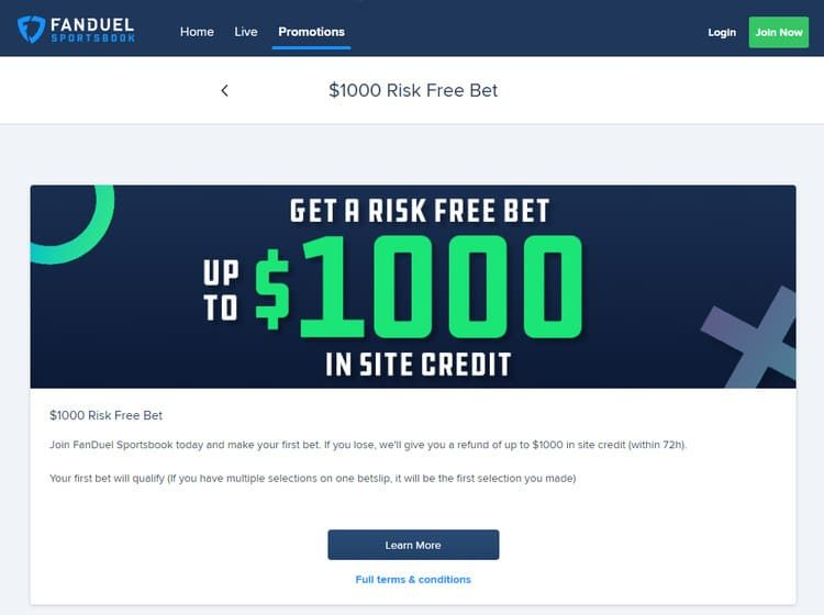 FanDuel Sportsbook Risk Free Bet