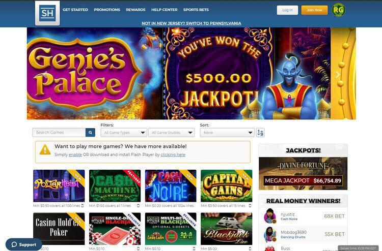 SugarHouse Casino Screenshot
